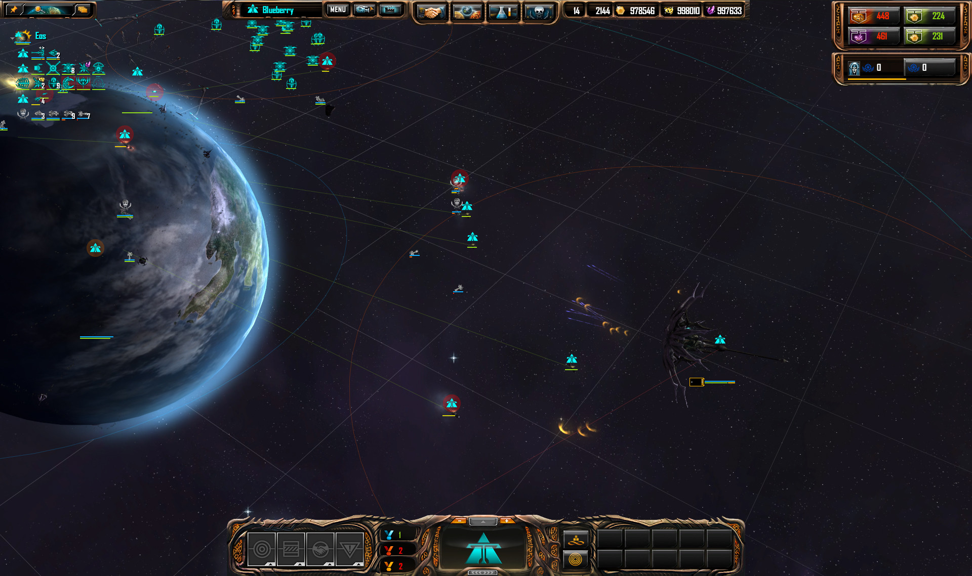 A shot of the interface in Sins of a Solar Empire: Rebellion.