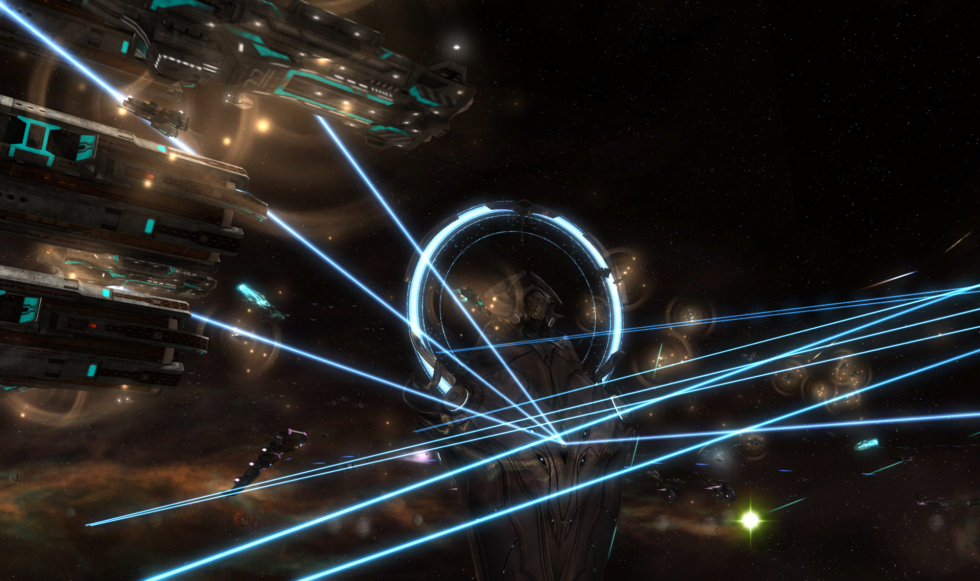 A laser space battle in Sins of a Solar Empire: Rebellion.