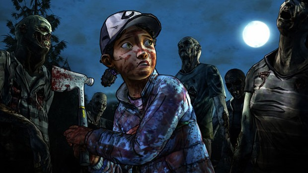 Clem fighting zombies