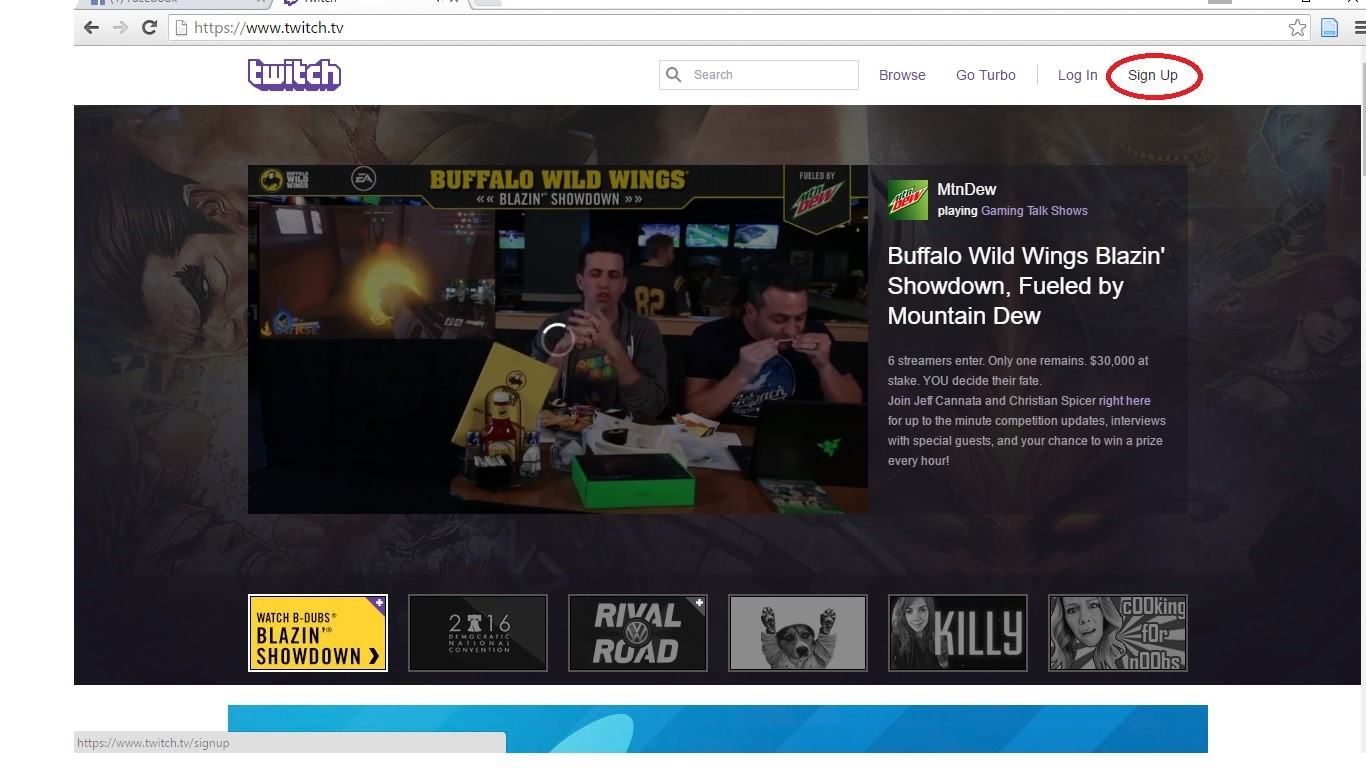 Create an account with Twitch to utilize their streaming service.