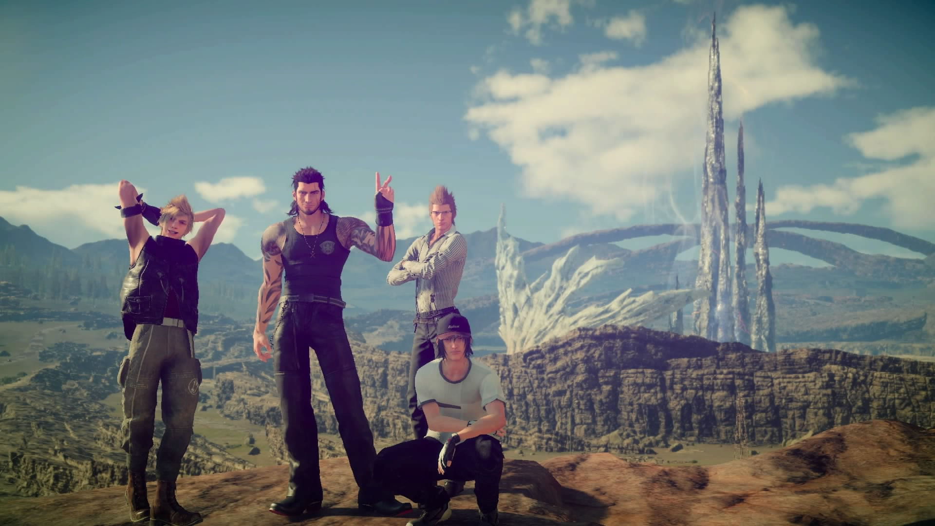 Noctis and his friends posing for a group photo.