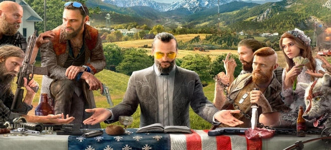 The main villain of Far Cry 5 surrounded by his henchmen at a table symbolising the last supper of Christ.