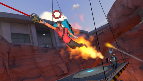 The grappling hook allows players greater mobility in TF2