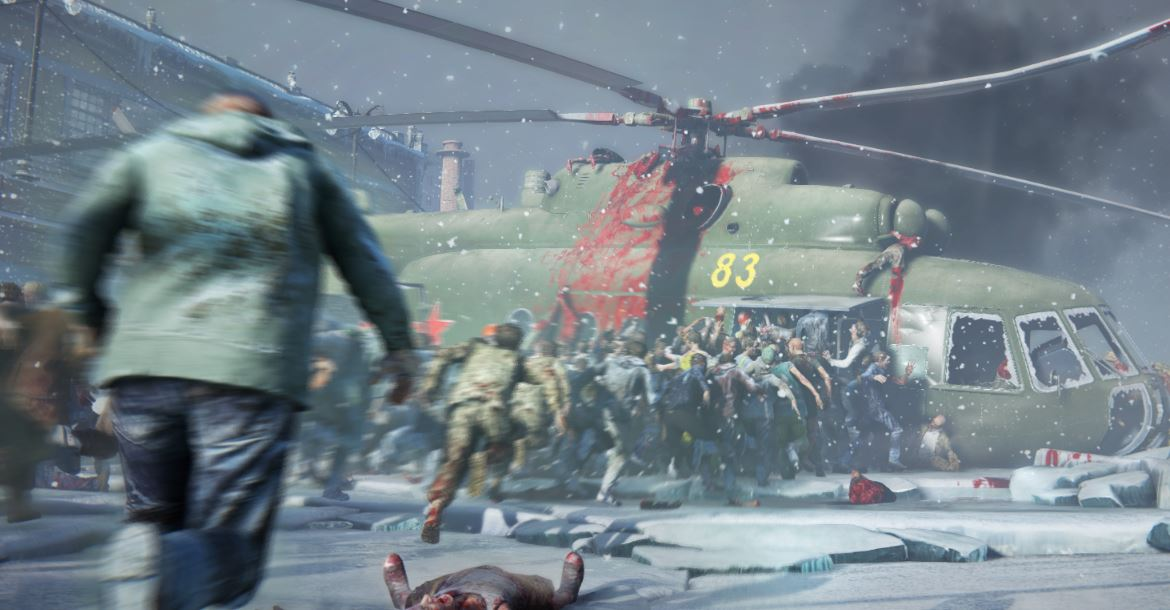 Zombies piling into a freshly fallen helicopter