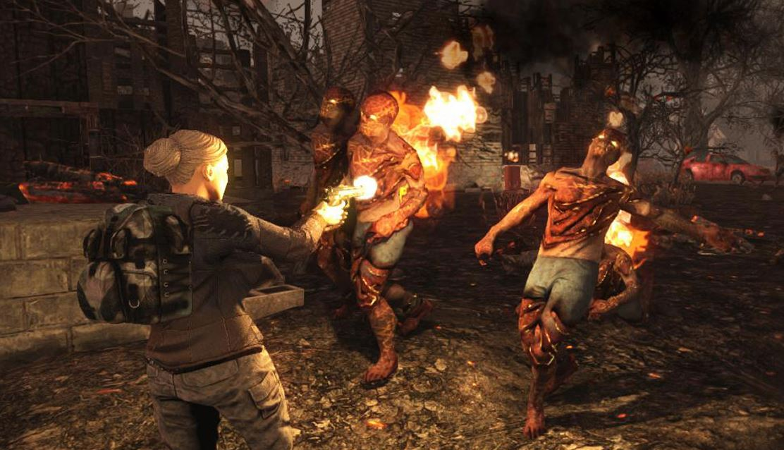 Player setting zombies on fire.