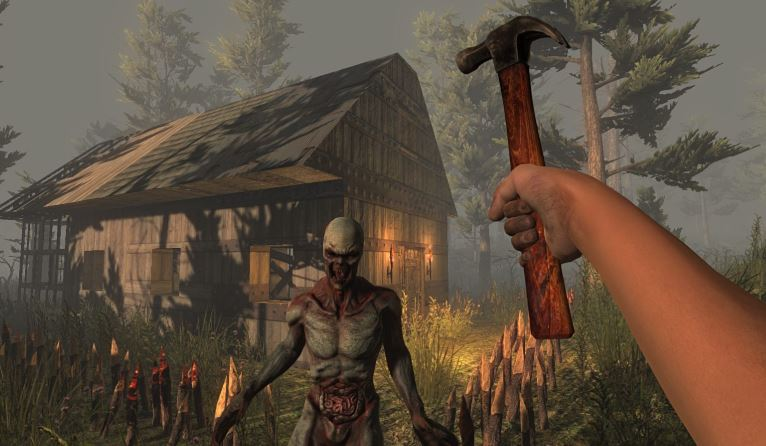 Player attacking a zombie with a hammer.