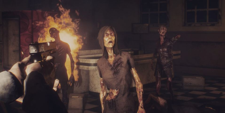 Player shooting at several zombies, including one that is on fire