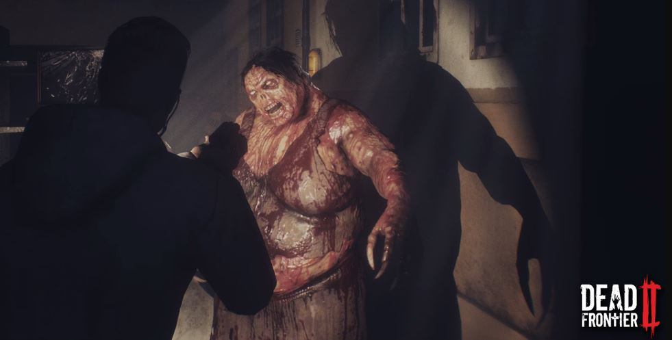 Using a flashlight, a player takes aim at a blood soaked zombie