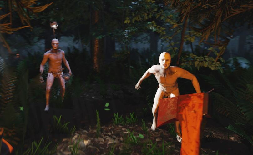 Two naked cannibals trying to eat a player with an ax.