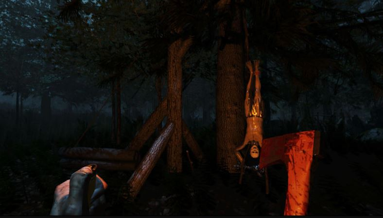 Player discovers another character that has been hung upside down on a tree