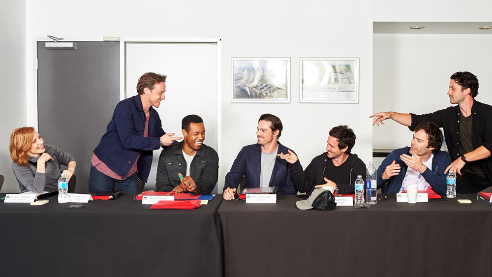 The adult cast of It: Chapter 2 shares a laugh at a table read on July 2nd.