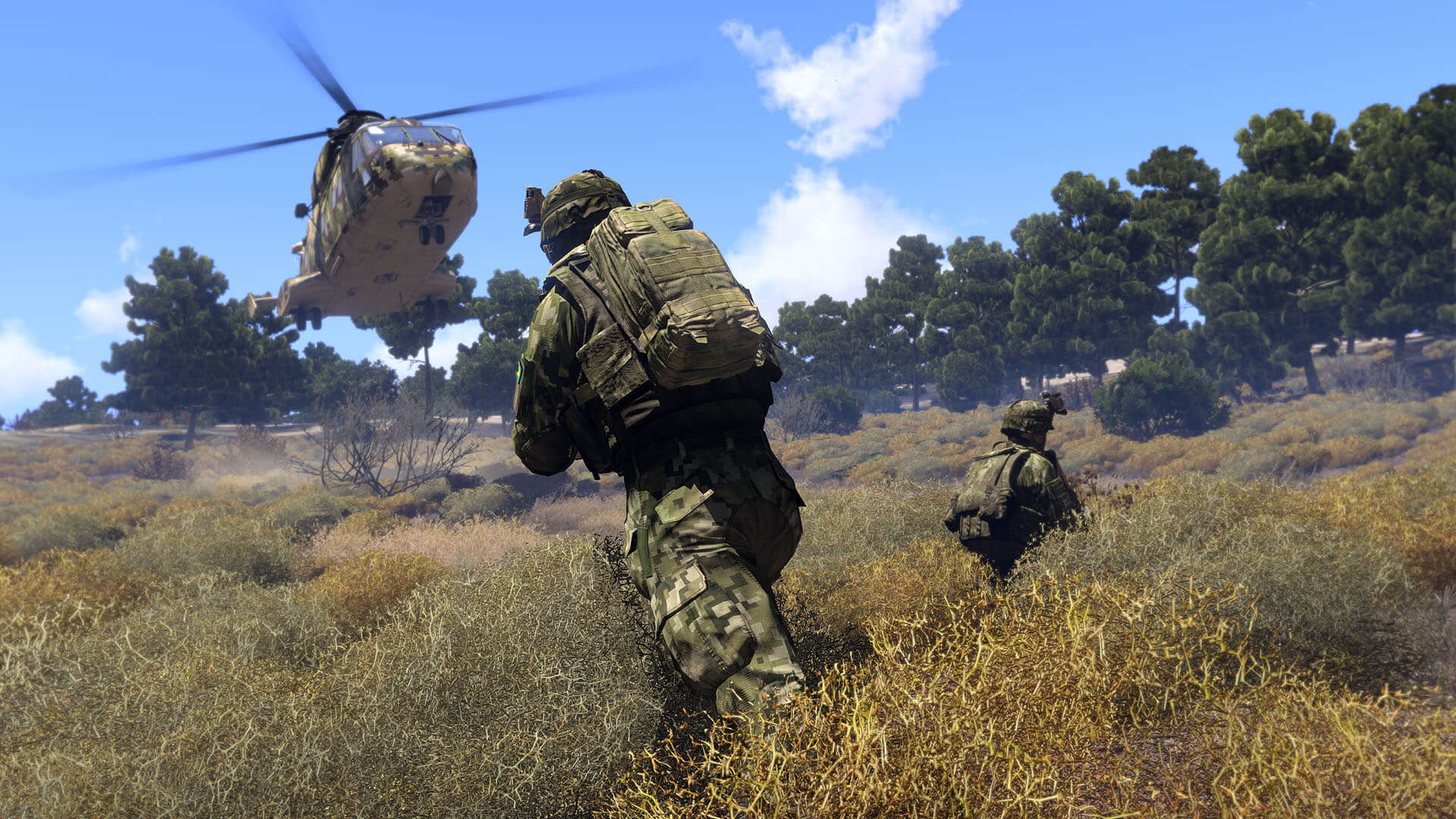 Helicopter landing in Arma 3