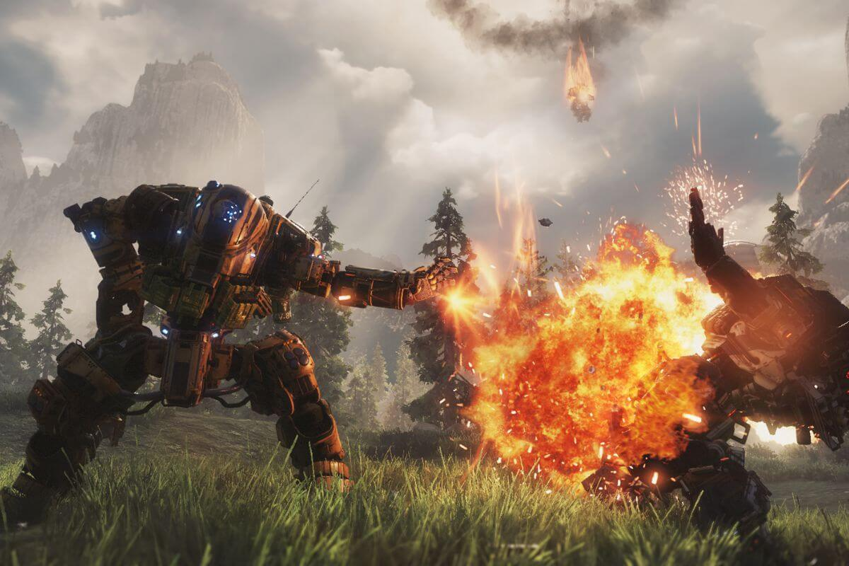 A mech versus mech fight in Titanfall 2