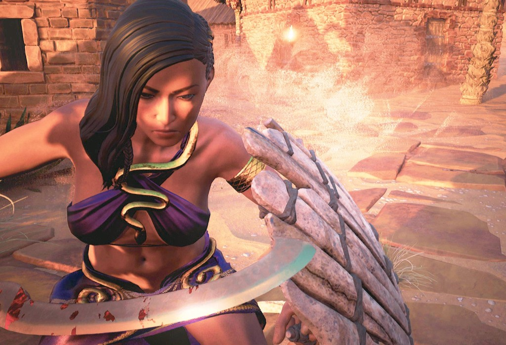 A warrior woman with a bloody sword in Conan Exiles