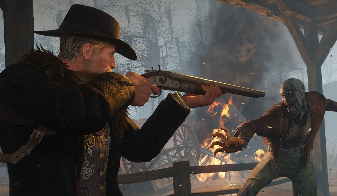 Fire a shotgun in the face of a zombie in Hunt: Showdown