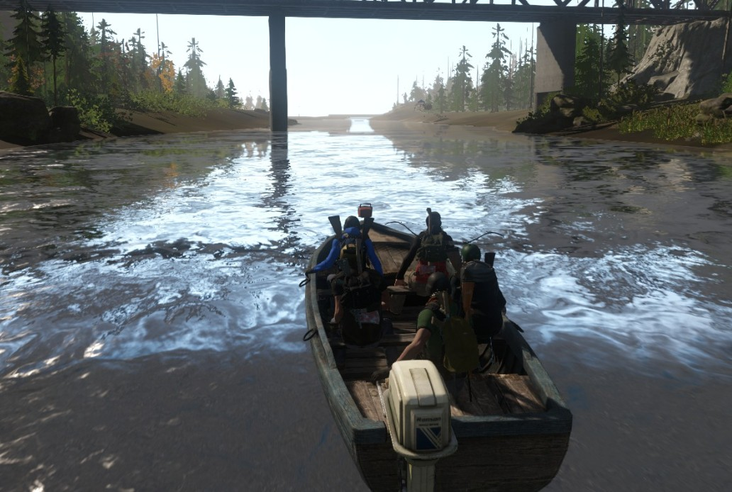 Ride boats down a river in Miscreated