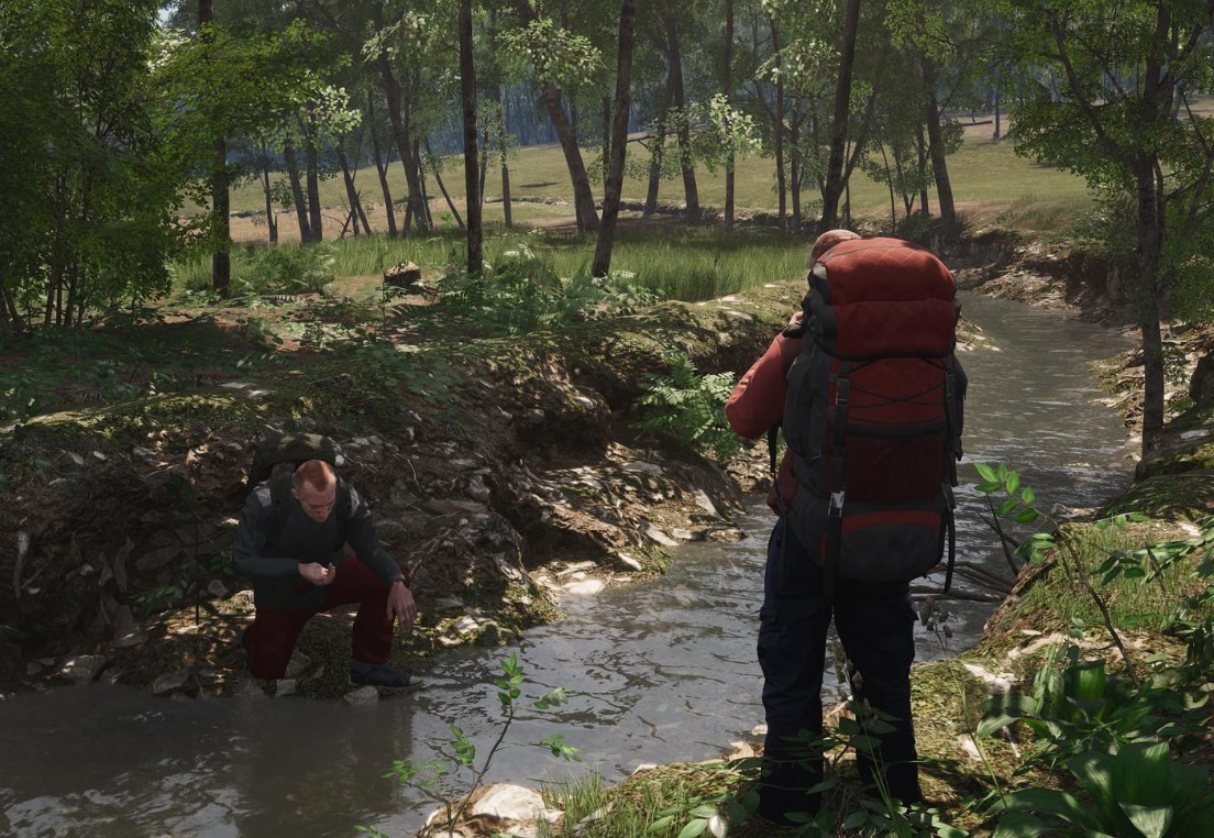 Backpacking near a river in Scum