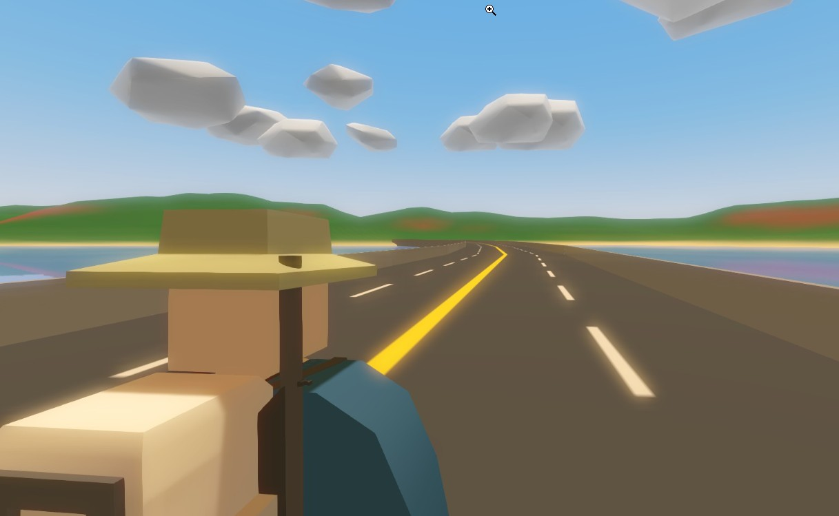 A voxel man looks down a highway in Unturned