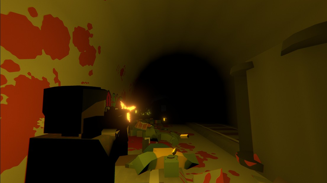 Blood splatters in a tunnel in Unturned