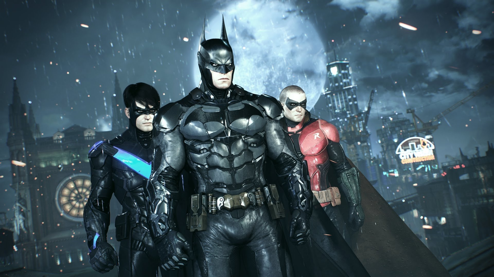Batman, Robin and Nightwing, ready for battle