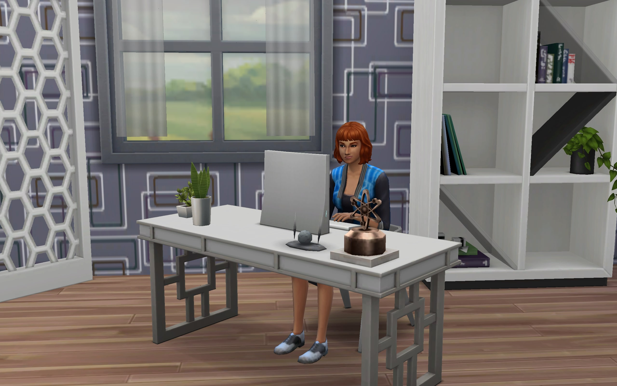 A (grumpy) Freelancer Sim is getting her gig done on the computer.