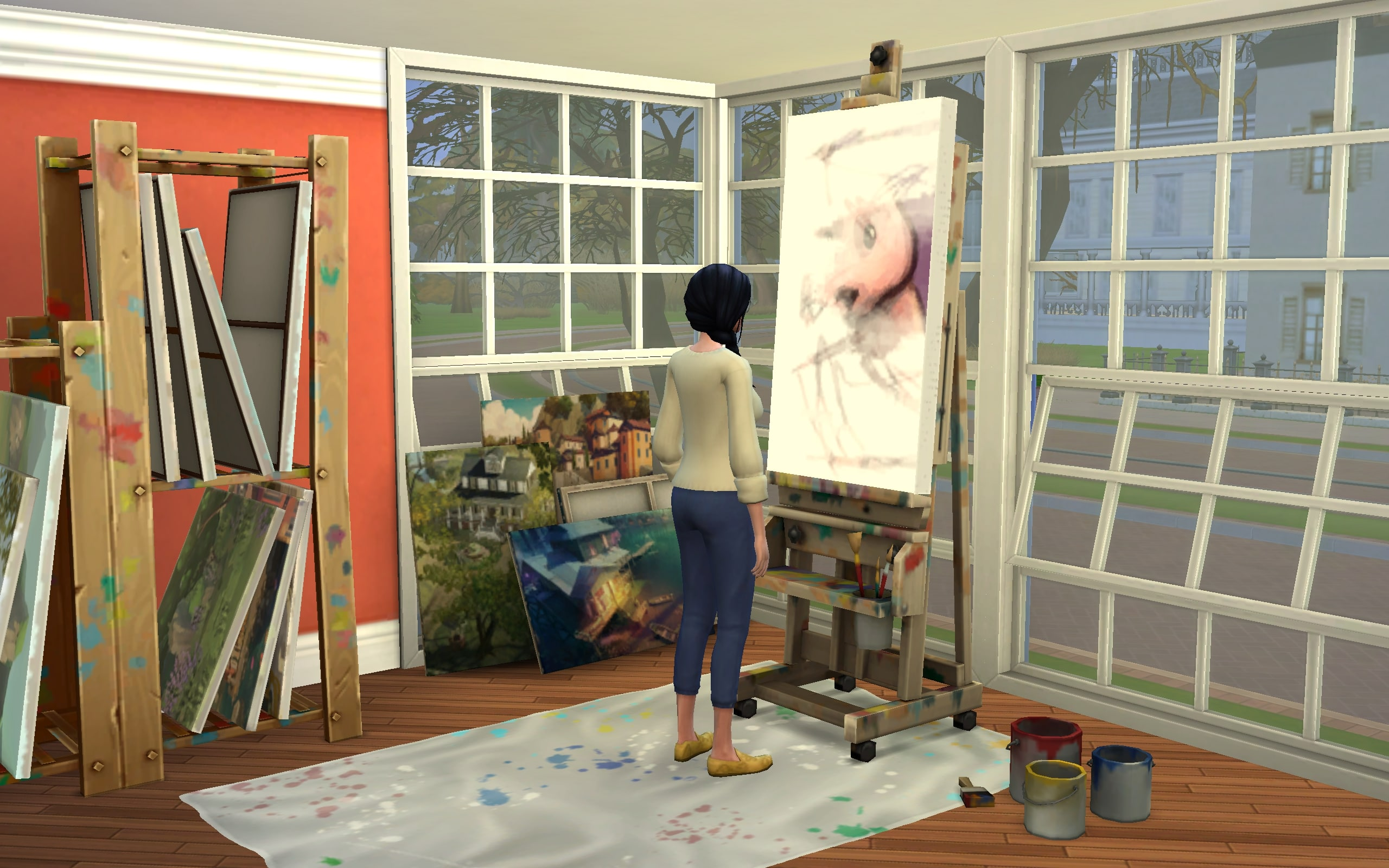 An Artist Sim is painting the infamous Pink Bunny Painting.