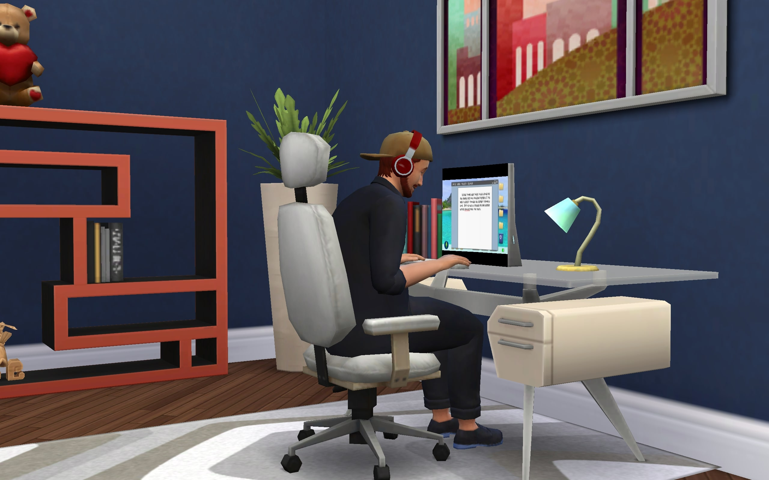 A Writer Sim diligently typing away on his computer.