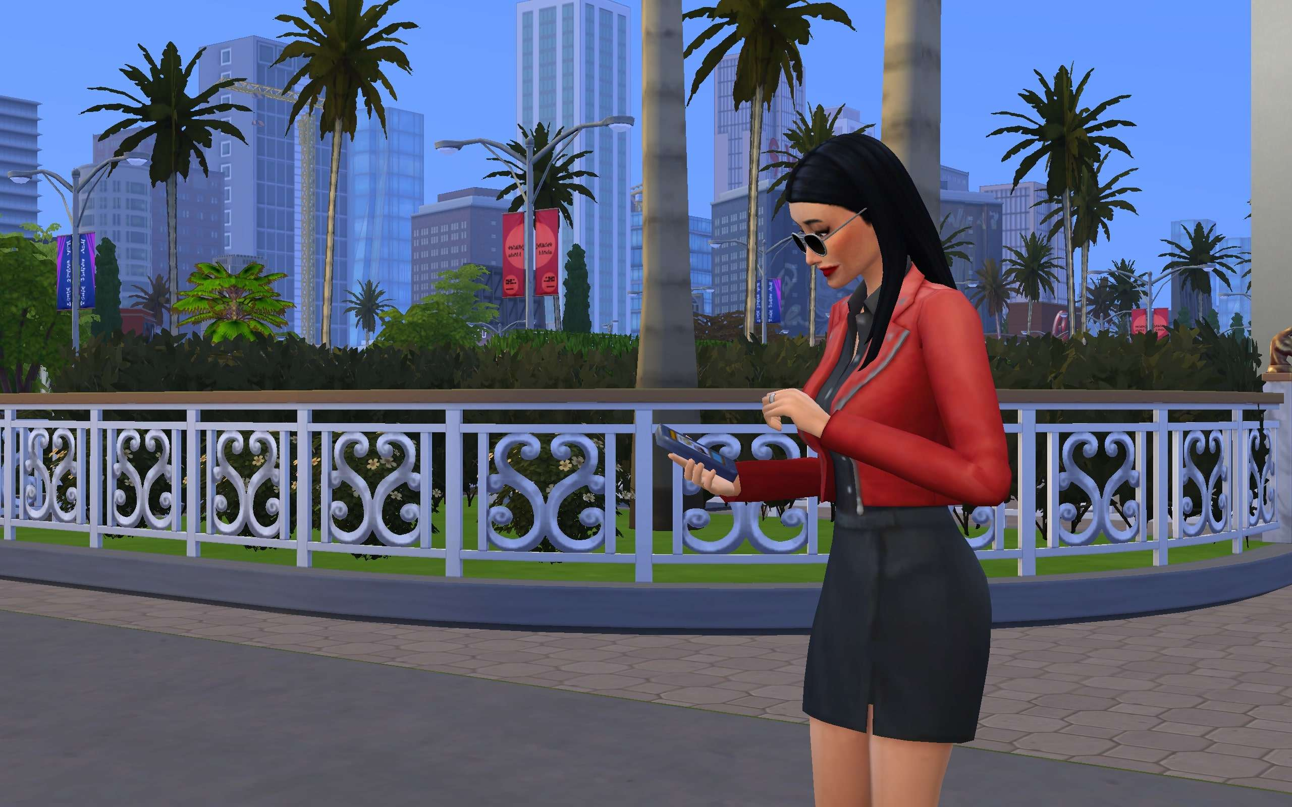 An Influencer Sim checking her Simstagram.