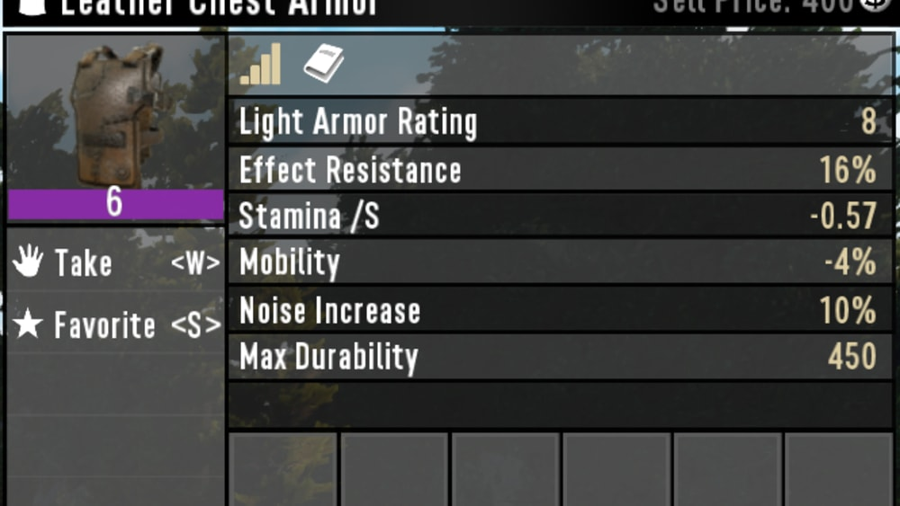 Leather armor stats
