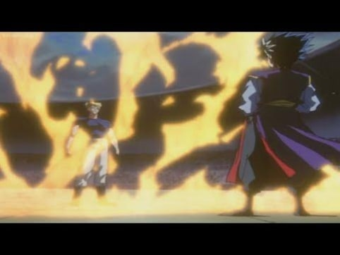 Hiei facing Zeru's flames