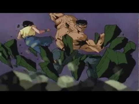 Yusuke dodging Toguro's attack
