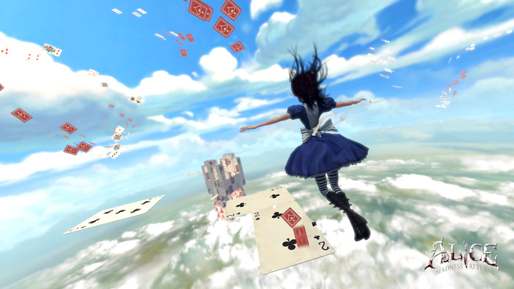 Alice, Madness, Madness Returns, Cards, Flying, Sky, Game