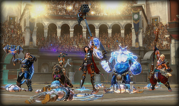 Thor, Awilix, Bellona, Ymir, and Sun Wukong stand victorious in Arena mode.