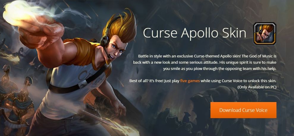 Apollo sports his free Curse Voice skin.