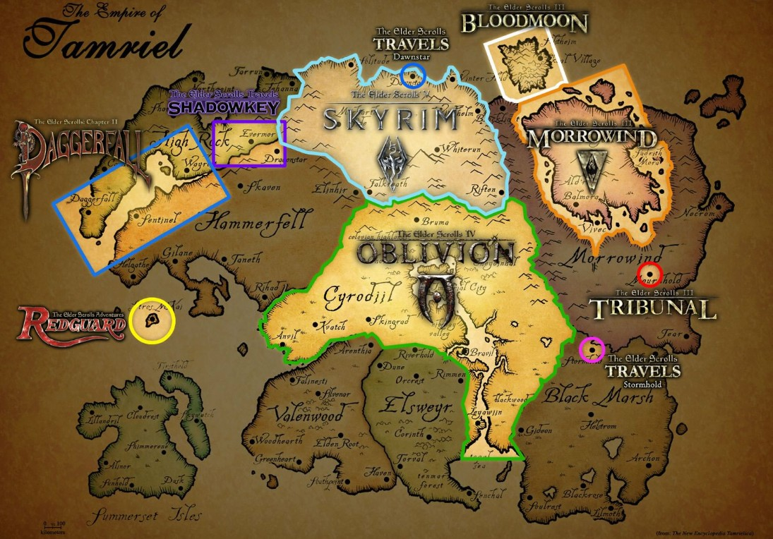 A Map Of Tamriel And The Places Where Past Elder Scrolls Games Have Taken Place