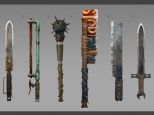 Primitive weapons from Rust stand in a row against a grey background.