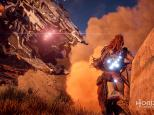 Shield Weaver Armor protecting Aloy from the attack of a Thunderjaw