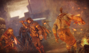 Talion is ready to take on a pack of Orcs.