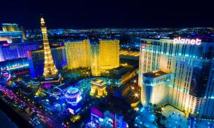Las Vegas lit up at night.