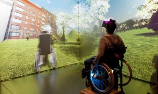 Elderly disabled virtual reality experience care hospice cancer patients walking video games vr oculus rift