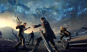 Promotional image for Final Fantasy 15, featuring Noctis and his friends