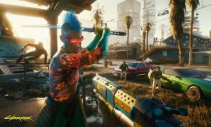 Cyberpunk 2077 katana guns cars city Night City cyborgs