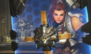 Brigitte behind her shield