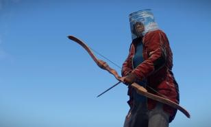 RUST Best Bow Skins. A bow wielding Rust player stands against the backdrop of an azure sky.