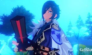 Kaeya from Genshin Impact holding The Black Sword