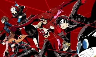 The cast of Persona 5 charging into battle