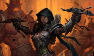 A Demon Hunter has her hand held crossbows drawn and firing.