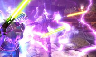 Players battle it out as Jedi lightsabers and Sith lightning meet.