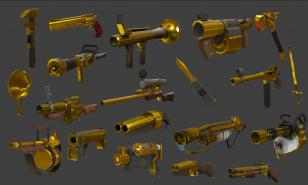 A collection of Australium weapons from Team Fortress 2