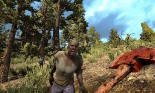 Use an axe to defend yourself against the undead in 7 Days to Die
